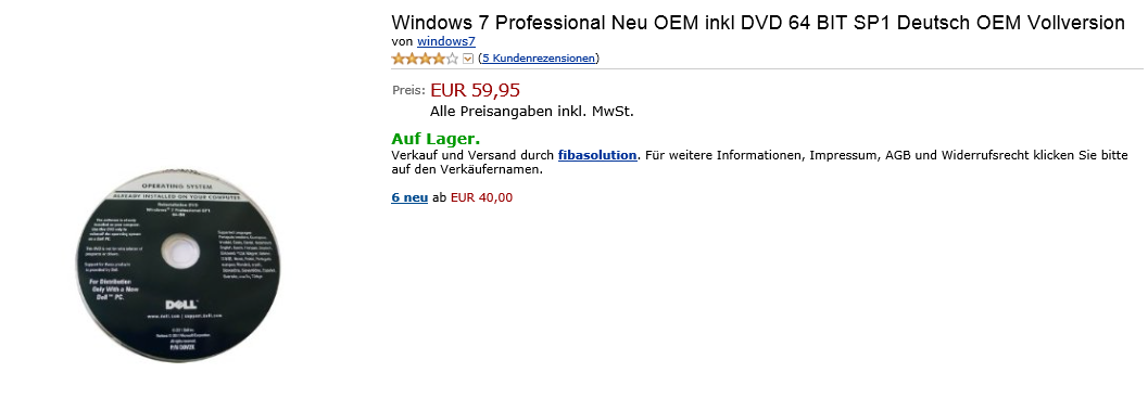 Windows 7 Professional von Amazon