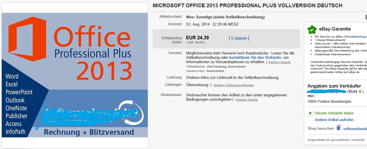 Office 2013 unter EUR 25