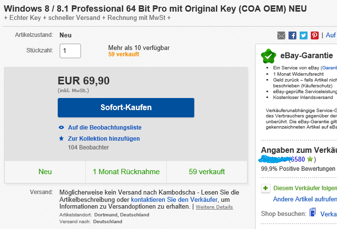 Windows 8 OEM-Key von eBay